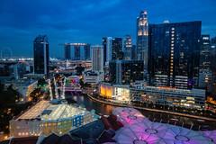 Singapore at dusk (Luko GR) Tags: singapore lights city night nightlight bluehour buildings clarkequay marinasands
