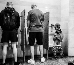 The New Yorkers - Little big man ;-) (François Escriva) Tags: street streetphotography us usa nyc ny new york people candid olympus omd photo rue light man toilets boy little fun funny black white monochrome bw grand central terminal cap