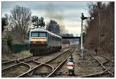 Up, up and away..... (david.hayes77) Tags: 67020 82308 dvt class67 skip atw transportforwales 2019 cheshire helsby 1d34 semaphores clc cheshirelinescommittee heathaze exhausthaze discsignal groundsignal winter