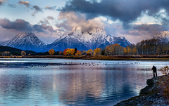 The Photographer 2 (ebhenders) Tags: grand teton national park sunrise oxbow bend snake river water geese fall color trees mountains clouds