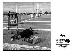 le tueur en série / serial killer •  3 (lem's) Tags: woman lies down femme git parking lot toison dor caddie serial killer tueur serie dijon zenza bronica