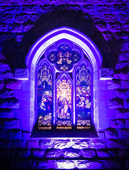 Christmas Lights on The Cathedral of St Stephen, Brisbane, Queensland, Australia (vfrman07) Tags: australia brisbane christmaslights2018 places queensland cathedral purple window stainedglass