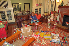 christmasmorop (FAIRFIELDFAMILY) Tags: christmas 2018 jason taylor grant carson michelle winnsboro sc south carolina present presents family living room house interior arts crafts craftsman bungalow antique fireplace rug lego legos child boy young old children boys mother son fairfield county vintage tree morris chair oak mantle piece