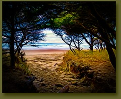 Beach approach (CAJC: in the PNW) Tags: topaz lighroompresets sonyx100m5 sliderssunday throughtothebeach seascape happysliderssunday hss approachtothebeach rockawaybeachor ipiccytools oregoncoast