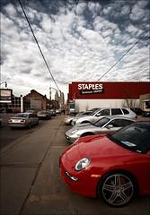 staples_red-porsche_tall_8773087039_o (wvs) Tags: downtown toronto bulding skyscraper texture brick reflection glass street ontario canada