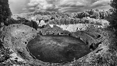 Sutri Roman Amphitheater, Central Italy BW (Claudio_R_1973) Tags: amphiteather sutri roman bw blackandwhite monochrome landscape landmark historical antique ancient detailed outdoor lazio monument archaeological