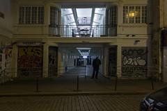 . (Le Cercle Rouge) Tags: paris france ruedufaubourgdutemple 75011 lajava club darkness light nuit night human shadow silhouette streetart graff graffiti flop tag handstyle passage belleville