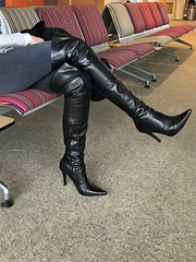 Rosina at the airport; waiting for departure (Rosina's Heels) Tags: overknee thigh high leather stiletto heel boots