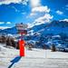 Crossroad sign at ski resort