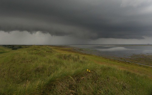 overzicht noordrif bij naderend onweer