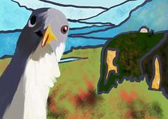 Hey Gull (Vinally2010) Tags: hello attraction surveillancecamera acrylic funny humorous humor landscape bird ipadpainting lopofi artset4app seagull photobomb