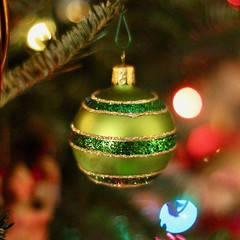 Green Ornament on a Green Tree (Read2me) Tags: cye bokeh dof pregamewinner ge green glass ornament tree lights christmas round circle stripes perpetualchallengewinner thechallengefactory challengeclubwinner