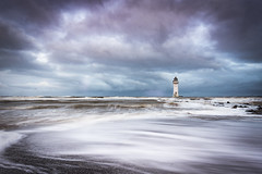 New Brighton lighthouse (Lukasz Lukomski) Tags: lighthouse wielkabrytania wirral perchrock mersey merseyside hightide sea coast beach landscape uk unitedkingdom england lukaszlukomski nikond7200 sigma1020 irishsea liverpool clouds sunrise waves