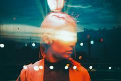 Louise (Louis Dazy) Tags: 35mm analog film double exposure neon lights dark city bokeh