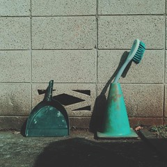 Dustpan and Brush (central-hi) Tags: iphone dxoone lightboxr object supplies blue concrete gray wall