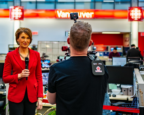 Gloria Macarenko Doing A Stand-Up in the Vancouver CBC Newsroom