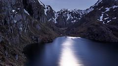 Night Glow (blue polaris) Tags: new zealand south island mt mount aspiring national park routeburn track lake harris night moonlit moon reflections landscape hike hiking travel