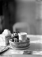 Still Life with Trader Joes (Gary L. Quay) Tags: stilllife largefromat ansco voigtlander table film softfocus bokeh garyquay honey tissues salt spoons ilford hp5 pmkpyro wholeplate