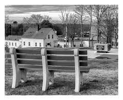 At the 9/11 Memorial (Timothy Valentine) Tags: blackandwhite large 0119 memorial silverefex 2019 bench monday eastbridgewater massachusetts unitedstates us