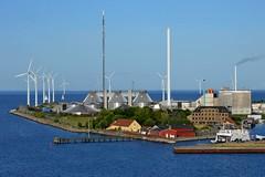 Copenhagen, Denmark (Seventh Heaven Photography *) Tags: copenhagen denmark port coastline water sea blue sky wind power turbines tanks boat buildings