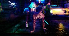 nowhere to hide (Dena Dana) Tags: drone watching neon cyberpunk cyber punk japan mask ambient fantasy game intense lights predator submissive