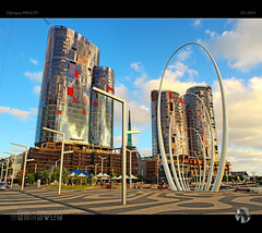 Going Up (tomraven) Tags: building architecture skysrapers quay perth tomraven aravenimage hdr reflections sky clouds goldenhour q12019 olympus ep5