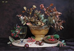 Simple Happiness (Esther Spektor - Thanks for 12+millions views..) Tags: stilllife naturemorte bodegon naturezamorta stilleben naturamorta composition creativephotography art autumn tabletop bouguet leaf branch berry chestnut vase goblet wine bowl placemat ceramics glass wicker pattern ambientlight green red rust sepia golden orange brown estherspektor canon