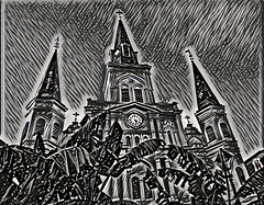 Saint Louis Cathedral (Rigamer) Tags: neworleans louisiana frenchquarter travel jacksonsquare saintlouiscathedral stlouiscathedral cathedral saint louis church religious religion desination cross catholic crucifix god holy historic history architecture clock bourbonstreet deep dream deepdream black white blackandwhite bw lines spire tower steeple photograph digitalart photoshop mixed