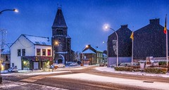 SNOW - 6405 (ΨᗩSᗰIᘉᗴ HᗴᘉS +44 000 000 thx) Tags: snow neige church road sonyrx10m4 blue belgium europa aaa namuroise look photo friends be wow yasminehens interest eu fr greatphotographers lanamuroise flickering
