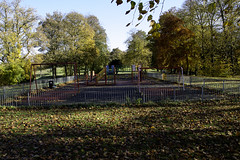 Ferguslie Gardens Autumn (46) (dddoc1965) Tags: dddocdavidcameronpaisleyphotographeroctober25th2018fergusliegardensparkpondswansripplesreflectionsbaloonwaterdewlittertrachplastictreeswoodsidecemeteryautumnhuescolours swingpark playground swings childrensplayarea trees leaves