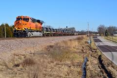 Steel Coils through Saint Clair (H-bob-omb) Tags: bnsf railway 8255 ge es44c4 locomotive train railroad saint clair missouri