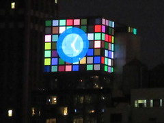 2018 Christmas Eve Virtual Clock Tower NYC 8376 (Brechtbug) Tags: 2018 christmas eve virtual clock tower ny times building night rooftop sign nyc 12242018 new york city green blue tile art deco buildings clouds lights evening publishing scape skyline mcgrawhill nite