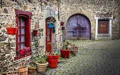 Petit coin de Bretagne (Lucille-bs) Tags: europe france bretagne côtesdarmor châtelaudren architecture porte fenêtre pavé mur place pot boucherie