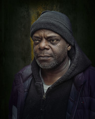 Chris (mckenziemedia) Tags: homeless homelessness man portrait portraiture face stockingcap coat winter chicago city urban street streetphotography low key