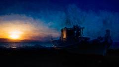 8222TS Evening Glow (foxxyg2) Tags: art topaz topazsoftware topazstudio topazsimplicitysun sunset blue sky waves water boat reflections light aegean naxos cyclades greece greekislands islandhopping islandlife niksoftware dfine2