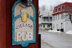 Village Pub (fotofish64) Tags: sign woodensign pub wilmingtonvillagepub bar wilmington village smalltown vermont southernvermont newengland northernnewengland quaint perspective depthoffield shallowdepthoffield beer business color red blue pentax pentaxart kmount kp smcpentaxfa35mmf2