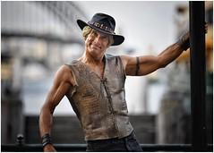 Mick (gro57074@bigpond.net.au) Tags: color colour streetimpersonator impersonator mick crocodiledundee mickdundee posedportrait posed cbd sydney circularquay streetportrait portrait d850 nikon artseries sigma 105mmf14