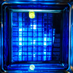 Blue (uk_dreamer) Tags: abstract light blue glass blu square lines line colour color art artistic arty reflections distortion distortions refracted foam amsterdam foammuseum
