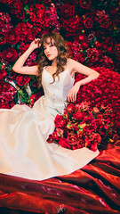 RED (polobear1616) Tags: red gown wedding dress bride bridal marriage mountain ethereal model rose velvet blanket olympus bearphoto