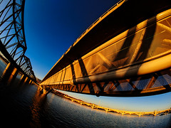 ... over troubled water (mariola aga) Tags: arizona tempe downtown river saltriver water bridges sunset light sky reflection distortion fisheye phone pixel2xl moment