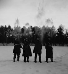 Praise the snow (Sonofsono) Tags: film finland soviet gas mask gp5 graflex speedgraphic fomapan apocalyptic apocalypse postapocalyptic black bw white trench coat winter snow