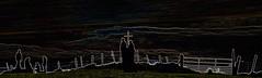 "more messing (conall..) Tags: nikon afs nikkor f18g lens 50 mm prime primelens"" nikonafsnikkorf18glens50mmprimelensprimelens knockavoe hill silhouette manipulated manipulatedimage photoshop elements 15 messing abstract weird glowing edges hedge post gate wire barbedwire fence backlit backlight intothelight sun sunny barbed barb metal steel barbedwirefence"