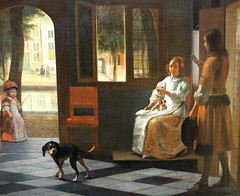 Pieter de Hooch. Man Handing a Woman a Letter in the Entry Hall of a House. 1670. detail (arthistory390) Tags: rijksmuseum