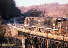 MGA 2001-2003, Morgantown, PA. 3-21-1986 (jackdk) Tags: train railroad railway monongahela monongahelarailway mga emd locomotive emdgp38 emdgp382 gp38 gp382 ple pittsburghandlakeerie coal coaltrain coaldrag railroadbridge bridge trestle siding morgantown morgantownwv standardcab fallenflag 2001 2003