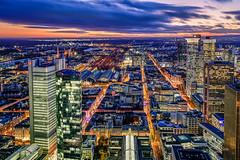 Frankfurt Observation Deck View (Cyclase) Tags: frankfurt germany deutschland sunset sonnenuntergang blue bluehour blauestunde dawn dämmerung farbig colorful city stadt skyline mainhattan sky dramatic himmel cityscape