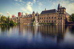 Binnenhof, The Hague. (PabloLopezPhotography.com) Tags: thehague hague netherlands holland lahaya haya binnenhof complex building lake hofvijver meeting law place house houses state states general ministry affairs office prime minister primeminister 13th century 13thcentury gothic castle original originally residence count counts political centre dutch republic 1584 heritage site sites oldest houseofparliament world pablo lopez pablolopez longexposure fountain water body skyscrapers skyline summer luxury trees park vegetation