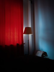 Silence (ewitsoe) Tags: indoors samsunggalaxys8 mobile interior home light morninglights window minimal red blue glow winter warsaw warszawa poland