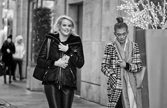 Fashionable Friends (captures.in.time) Tags: edinburgh street portrait scotland humansofedinburgh peopleofedinburgh peopleofscotland streetphotography edinburghstreetphotography urban urbanphotography city cityphotography cityscape people peopleoftheworld girl coat candid candidphotography raw canon sigma light evening gloves waves stare