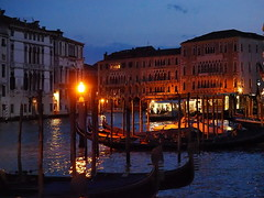 The Grand Canal at Dusk (Digidoc2) Tags: grandcanal vaporetto ferry santoma venice canal gondola moorings lighting buildings iconic people water dusk reflections urban city