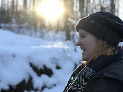Enjoying The Snow (rachelkidwell93) Tags: snow winter nature forest trees cold freeze freezing flake snowflake trail hike walk park sun sunny sky blue bright adventure travel outdoors mountain mountains virginia glare light ice icy person people woman girl model smile smiling happy action profile hat scarf fashion clothing young ginger emotion melt melting weather